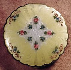 Vintage Silver Yellow & White Guilloche Enamel Compact with Pink Rose Floral Design