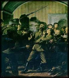 picture of the execution scene  Ipatiev House - Romanov Memorial - The tragic end of the last Czar of Russia