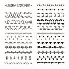 Hand drawn vector line border set and scribble design element. Valentine day vintage romantic pattern with hearts. Illustration. Trendy doodle style brushes.