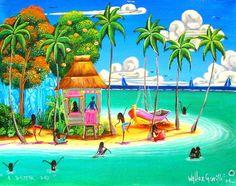 Belize Painting-Acrylic-Debbie Cooper: A Better Day Art Caribbean Culture, Caribbean Art, Haitian Art, Tropical Art, Surf Art, African American Art, Naive Art, Fantasy Landscape, Beach Art