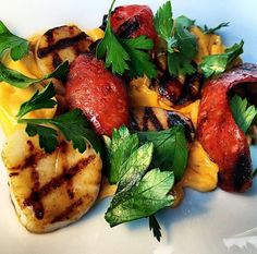 Delicious grilled sea scallops & chorizo with paprika aioli & parsley. Visit us and enjoy your #seafood.