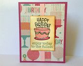 Pink Birthday Card - Vintage Inspired Birthday Card - Happy Birthday Card - Shabby Chic Birthday Card