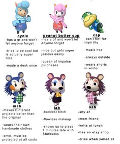 ACNL Personalities (expand for more) - Animal Crossing New Leaf