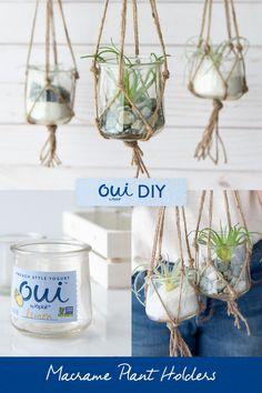 Jar Crafts, Cute Crafts, Diy Craft Projects, Crafts To Make, Crafts For Kids, Projects To Try, Craft Ideas, Decor Crafts, Hanging Planters