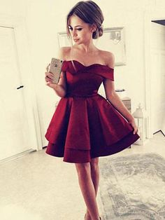 Cheap Simple Off Shoulder Dark Red Homecoming Dresses 2018 cb009599ba71