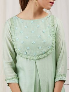 Green Modal Silk Hand Embroidered Kurta with Cotton Lining and Pants - Set of 3 Neck Designs For Suits, Sleeves Designs For Dresses, Neckline Designs, Dress Neck Designs, Blouse Designs, Silk Kurti Designs, Kurta Designs Women, Kurti Designs Party Wear, Kurti Sleeves Design