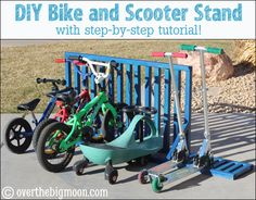 DIY Bike and Scooter Stand for your Garage. Full tutorial. I love that it holds both bikes and scooters!