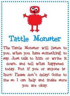 Tattle Monster Poem [make tattle monster from kleenex box to go w/ poem]