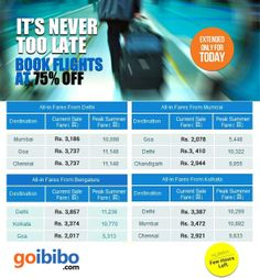 ✈ On Popular Demand, 75% Off on Airfare Sale is Extended only for Today. Hurry! Few Seats Left. Book Now @ https://www.goibibo.com/flashsale/