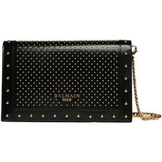 Balmain Studded leather clutch (£1,125) ❤ liked on Polyvore featuring bags, handbags, clutches, black, leather handbags, studded leather purse, summer purses, chain-strap handbags and chain strap purse