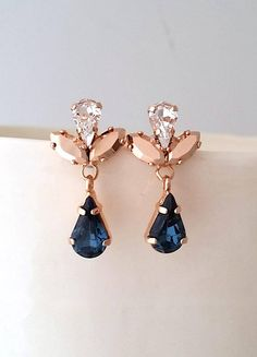 #Navy blue earrings#Rose gold earrings#Bridal earrings#Bridesmaids gift#dark blue rose gold earrings#chandelier earrings#Swarovski earrings