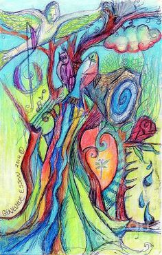 """Fish Feather In Teapot Tree Guarded Bu Human Bird"" by Artist Genevieve Esson. Watercolor Pencil on Paper. 5.5""w x 8.5""h. $200.00. Watercolor Pencil Painting. Part of the ""Music In Bird Of Tree"" series. Stretched canvas, metal, phone cases & acrylic prints are 45% OFF thru 6/20. Code: KSSUES."