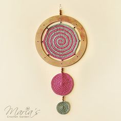 "MANDALA OF LIFE / Crochet Green and Dusty Rose Meditation Mandala / Native American Inspired Wall Art (26x12"")"