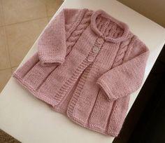 MADE TO ORDER Soft handknitted pink baby cardigan por SnuggleBubs