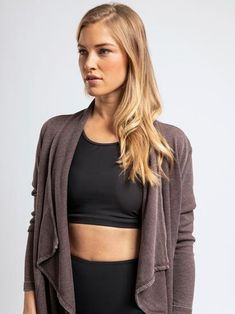 With wide, sailor-style collar and a drapey open front, this ribbed cardigan exudes a boho-chic flair. Accessories Store, Women Accessories, Sailor Fashion, Ribbed Cardigan, Athleisure, Get The Look, Boho Chic, Aspen, Long Sleeve