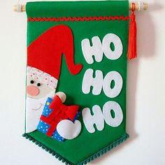 Ateliê Cantinho da Ka - flâmula de Natal com Papai Noel, em feltro, feito à mão