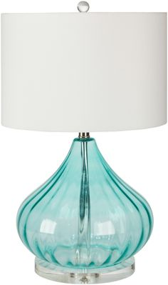 "Atlantis Aqua Glass Lamp - ""subtle"" coastal accent in your beach home. Love the color!"