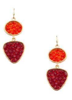 Shop Prima Donna - Talita Two-Tone Dangle Earrings Gold/Red
