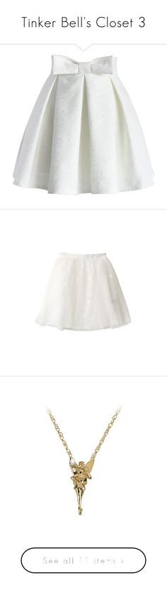 """""""Tinker Bell's Closet 3"""" by summersurf2014 ❤ liked on Polyvore featuring skirts, bottoms, white, saias, knee length pleated skirt, white pleated skirt, bow skirt, white skirt, heart skirt and white knee length skirt"""