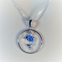 """Sterling Silver Blue Lab Opal Dolphin Pendant Necklace, 18"""""""