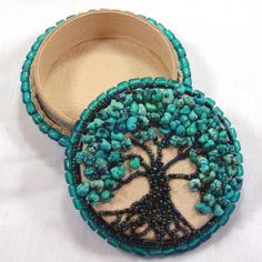 All finished and listed Turquiose Tree of Life Beaded box