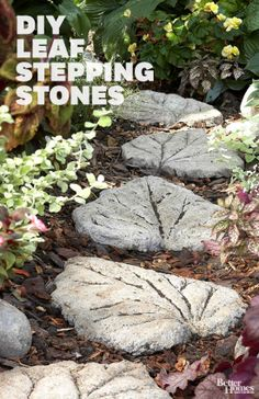 Enhance your garden with leaf-shape stepping-stones: http://www.bhg.com/decorating/do-it-yourself/accents/cast-in-stone/?socsrc=bhgpin040614steppingstones&page=4
