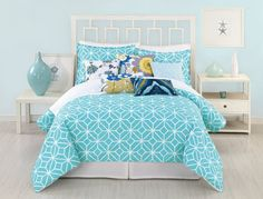 AmazonSmile - Trina Turk 3-Piece Trellis Comforter Set, Queen, Turquoise - Trina Turk Trellis Turquoise Bedding Collection