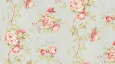 Wallpaper - Vintage Inspired Floral Trail - Pink, Green, Pale Blue, Shabby Cottage, Flower, Country Chic, Garden - By The Yard - CG28815 so