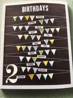 Verjaardagskalender. Kader - touwtjes - vlaggetjes