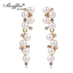 Pendientes Fashion Imitated Pearl Earrings for Women Brinco Jewelry Statement Crystal Stud Earrings Gold Boucle d'oreille Fashion Earrings, Women's Earrings, Coral Lace Dresses, Fashion Capsule, All About Fashion, Ebay, Clothing Accessories, Size Clothing, Jewelry