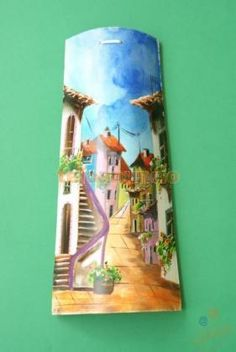 tejas pintadas a mano - Decoración- Casa Roof Tiles, Country Crafts, Shell Crafts, Tile Art, Recycled Crafts, Oil Painting On Canvas, Wall Murals, Crafts To Make, Decoupage