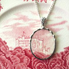 Broken china jewelry, Recycled china pendant necklace Antique English castle transferware broken china jewelry by dishfunctionldesigns on Etsy