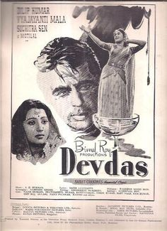 Devdas is a 1955 movie directed by Bimal Roy based on the Sharat Chandra Chattopadhyay novel Devdas. The film had Dilip Kumar in the title role Vyjayanthimala in her first dramatic. Old Bollywood Movies, Bollywood Posters, Bollywood Cinema, Vintage Bollywood, Old Film Posters, Iconic Movie Posters, Vintage Advertising Posters, Cinema Posters, Famous Movies