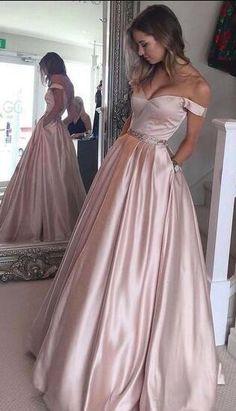 Beauty Off Shoulder Backless Prom Dress,Beaded Waist Long