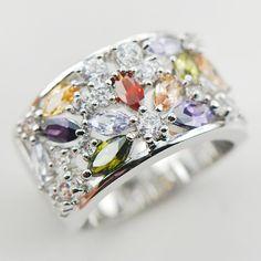 White Sapphire Amethyst Garnet Morganite 925 Silver Ring Size 6 7 8 9 10 11 A31 www.bernysjewels.com #bernysjewels #jewels #jewelry #nice #bags