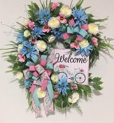 Diy Spring Wreath, Deco Mesh Wreaths, Grapevine Wreath, Grape Vines, Summer Vibes, Floral Wreath, Unique Jewelry, Handmade Gifts, Bicycle