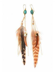 Boucles d oreilles en or turquoise et plumes The Trend Boutique