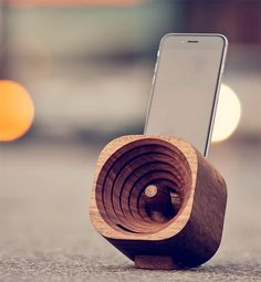 Trobla Wooden Smartphone Amplifier - Designed in Slovenia, The Trobla amplifier is an all-wood passive amp made for cranking up the audio on your smartphone without requiring another electronic device. The cone-shaped design & a special chamber at its core creates clean, full tones & different adapters are available to perfectly cradle your phone. | werd.com