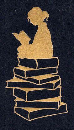 Silhouette lesendes Mädchen lesendes Mädchen silhouette stacks - Nona W - Art I Love Books, Good Books, My Books, Stack Of Books, Kirigami, Art Sketches, Art Drawings, Girl Reading Book, Reading Art