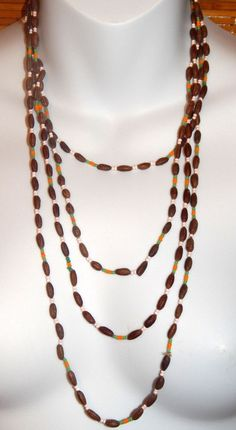 "47"" Wood and Glass Bead Flapper Length Necklace Brown Orange Green White #Unbranded #StrandString"