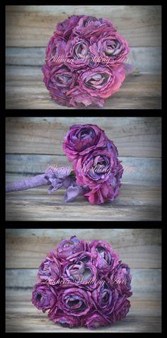 Small Purple Ranunculus  Bouquet $65 www.allauraweddingarts.com.au