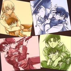 Conan with Amuro, Kaito, Shuichi, and Heji Detektif Conan, Conan Comics, Manga Comics, Manga Anime, Super Manga, Fangirl, Detective Conan Wallpapers, Kaito Kid, Kudo Shinichi