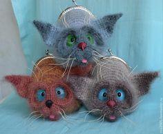 """Купить Кошелёк-игрушка с фермуаром """"Сиам"""" - сиамский кот, сиам, сиамский, кошелек, кошачий глаз"""