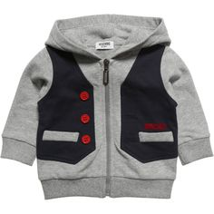 Moschino Boys Grey Waistcoat Zip-Up Top at Childrensalon.com