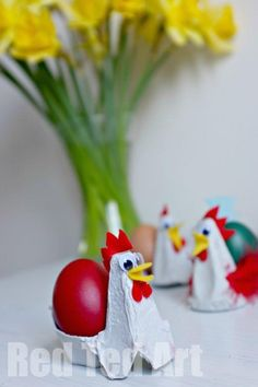 These Egg Carton Chickens are super quick and easy to make. They make for perfect Easter table decorations or are great fun for an Easter/ Spring Breakfast