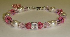 Girl's Pretty In Pink Initial Bracelet  by CrystalConnections4U, $22.00