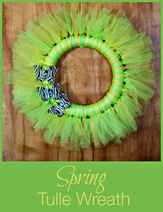 Easy Spring Tulle Wreath with Butterflies - this tulle wreath is bright and cheerful for spring, and easy to make
