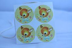Kawaii retro vintage stickers met schattig hertje door HOPPYDESIGNS, €2.00