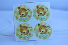 Kawaii retro vintage stickers met schattig hertje door HOPPYDESIGNS, €2.00