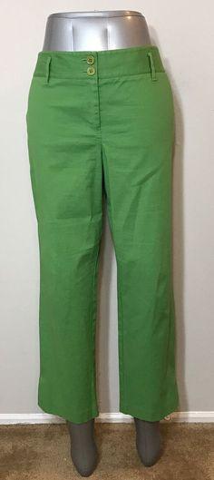 Ann Taylor LOFT Womens Size 12 Pants Green Textured No Pockets  | eBay